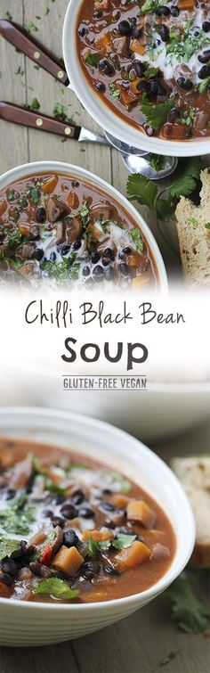 Chilli Black Bean Soup with Mushrooms by Trinity #vegan #dairyfree #glutenfree