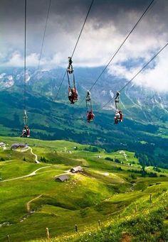 Zip-lining in Grindelwald, Switzerland