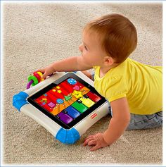 Lock your iPad or iPhone inside these drool-proof Fisher-Price cases. The case comes with two stand options (easel or rocker) and features playful rattle beads on the handle.     Download the accompanying free apps for fun baby or toddler education.