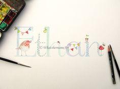 Custom Name Watercolour Painting Baby Boys by WhatshernameArt