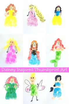 Disney Inspired Fingerprint Art. Have fun creating your favourite characters with your fingertips!