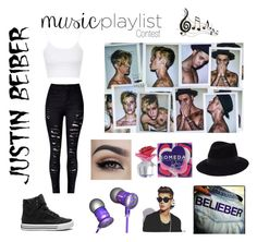 """""""MusicPlaylistContest"""" by emilyyberg ❤ liked on Polyvore featuring Justin Bieber, Maison Michel, Topshop, Supra, Benzara, Beats by Dr. Dre, women's clothing, women, female and woman"""