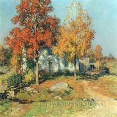 """Hand Painted Oil Painting Reproduction Artists Romantic Landscape Painting, Size: 24"""" x 24"""", $91. Url: http://www.oilpaintingshops.com/hand-painted-oil-painting-reproduction-artists-romantic-landscape-painting-0490.html"""