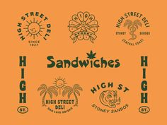 High Street Deli designed by Ben Kocinski. Connect with them on Dribbble; the global community for designers and creative professionals. Logo Branding, Branding Design, Branding Ideas, Menu Design, Print Design, Design Ideas, Surf, Fashion Logo Design, Photography Logo Design