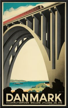 Lillebæltsbroen har 80 års fødselsdag.  Den 14. maj 1935 blev Lillebæltsbroen indviet af Kong Christian X, og de røde lyntog jog afsted oppe på broen på vej mod fremtiden som en rød og strømlinet streg i luften.  Sven Henriksen tegnede den smukke plakat, der blev årets turistplakat.