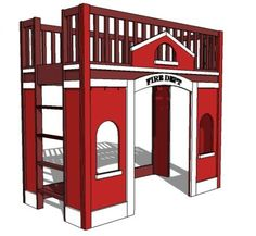Free DIY Woodworking Plans for Building a Loft Bed: Ana White& Free Fire Station Loft Bed Plan