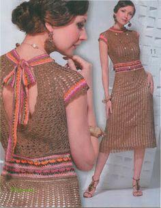 vestido cafe a crochet 1