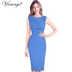 Vfemage Womens Elegant Ruffle Ruched Draped Vintage 2017 Tunic Slim Casual Work Business Party Evening Bodycon Pencil Dress 6267 //Price: $33 & FREE Shipping //     #dress #follow