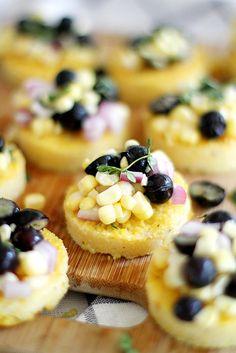 Cheesy Polenta Bites with Blueberry Corn Relish | girlversusdough.com @girlversusdough