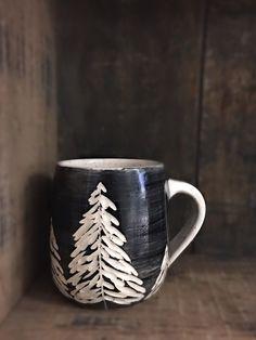 Muskoka pottery Ceramic mug Pine tree Black mug Pottery cup Coffee mug Tea mug Forest Ceramics & Pottery Gifts under 30 Forest mug Pottery Plates, Pottery Mugs, Ceramic Pottery, Slab Pottery, Ceramic Bowls, Ceramic Mugs, Porcelain Ceramic, Pottery Gifts, Pottery Ideas