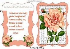 Pretty peach rose on layered lace bracket card verse on Craftsuprint - Add To Basket!