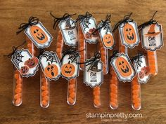 Stampin Up Patterned Pumpkins Halloween Treats Test Tubes Group - Mary Fish StampinUp Quick Halloween Crafts, Halloween Goodies, Diy Halloween Decorations, Halloween Cards, Holidays Halloween, Halloween Treats, Fall Crafts, Halloween Halloween, Halloween Makeup