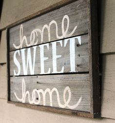 Home Sweet Home  Distressed Wood Sign Cream by thesummeryumbrella, $40.00