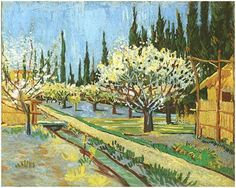 Orchard in Blossom, Bordered by Cypresses by Vincent Van Gogh - 368
