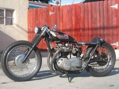 Stripped down Triumph. Very cool.