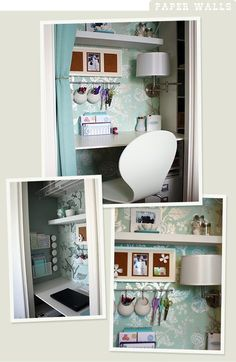 closet desk inspiration for guest room/office combination. Closet Desk, Closet Office, Guest Room Office, Hall Closet, Room Closet, Closet Space, Desk Areas, Desk Space, Spare Room
