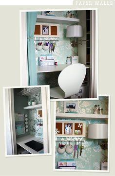 Turning a closet into a desk area!! How cute!
