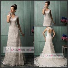 Wholesale A-Line Wedding Dresses - Buy New Cap Sleeves V Neck A Line Lace Wedding Dresses 2015 Tulle Lace Applique Hollow Court Train Bridal Gowns With Buttons Back AS1284, $141.98   DHgate.com