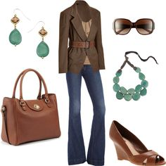 browns and teal, created by lulums on Polyvore