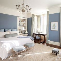 Bedroom Color Ideas Blue Simple Blue Bedroom Colors - Home Design Ideas Blue Master Bedroom, Blue Bedroom Walls, Master Bedrooms, Blue And Cream Bedroom, Periwinkle Bedroom, Bedroom Color Schemes, Bedroom Decor Colours, Paint Colours For Bedrooms, Bedroom Wall Colour Ideas