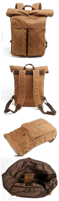 Handmade Canvas Leather Backpack Casual Backpack Rucksack Features: • Fabric Lining • Inside zipper pocket • It can hold a 17'' laptop, iPad, A4 document files, magazines, etc. **********************