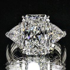 3.92ct GIA Radiant & Trillion 3 Stone 18K Gold Engagemen Ring F/VS2 (5121443913)