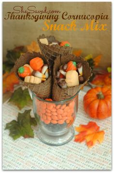 The kids (and adults!) will love this easy Thanksgiving Cornucopia Snack Mix. Such a pretty and yummy addition to your Thanksgiving table!