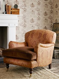 These printed re-generated leathers are something a bit different. Feature wall - LW59/1 - Sepia. Back & sides of chair - LF1872FR/1 - Havana.
