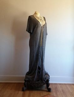 vintage 1970's lurex robe // crocheted metallic robe // festival wear // burlesque robe // plus size robe by NVCollective on Etsy