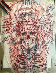 Эскиз тату со скелетом и головой мандрила
