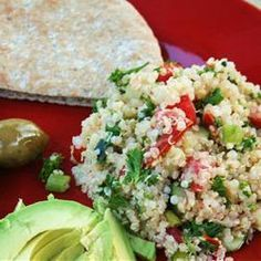 Quinoa Tabbouleh - water, quinoa, salt, olive oil, sea salt, lemon juice, tomatoes, cucumber, green onions, carrots (leave out), fresh parsley - Strict Candida Diet