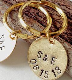 Custom Anniversary Date Stamped Brass Key Ring