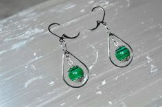 Malachite Earrings . Malachite SIlver Drop Earrings . Heart Chakra Earrings . Reiki Healing Malachite Earrings . Green Dangle & Drop Earring