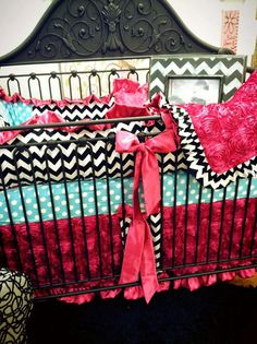Custom Baby Bedding 4pc Crib Set Aqua Dot and by BabyCarSeatCovers, $449.95