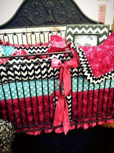 Custom Baby Bedding 3 pc Crib Set, Turq Girly Dot Baby Bedding on Etsy, $379.95