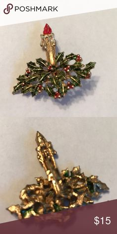 Xmas candle pin Xmas candle pin Jewelry Brooches