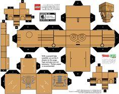 Imprimer le patron du paper toy C3PO 1