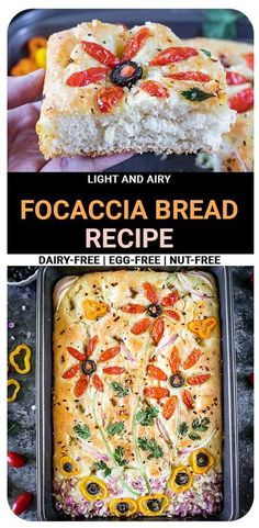 Light and airy Focaccia bread recipe infused with Italian herb seasoning and topped with dried rosemary and olive oil is an absolute crowd-pleaser for your upcoming parties, holidays, or potlucks. #focacciabread #veganbread #veganfocaccia #homemadebreads Vegetarian Sandwich Recipes, Vegetarian Meal Prep, Vegan Breakfast Recipes, Delicious Vegan Recipes, Beef Recipes, Recipes Dinner, Appetizer Recipes, Vegan Baking, Bread Baking