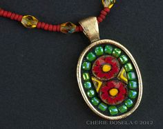 Red Daisies Flowers Millefiori Mosaic - Wearable Art - Pendant Necklace on Etsy, $65.00