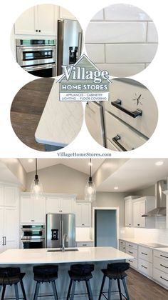 Grey Painted Kitchen, White Kitchen Cabinets, Coretec Flooring, Grey Kitchen Designs, Kitchen Island Lighting, Vinyl Plank Flooring, Open Concept Kitchen, Luxury Vinyl Plank, Kitchen Fixtures