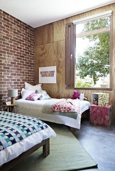 """Girls' room again — beds in recycled messmate, cubes from Bonnie and Neil and """"Awopbopaloobop"""" limited edition print from Keep Calm Gallery UK."""