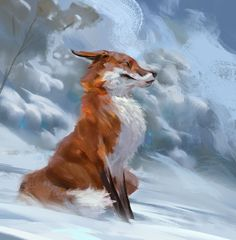 Daily Sketches Week 46 by Even Amundsen on ArtStation. Fox Drawing, Painting & Drawing, Wolf Hybrid, Fuchs Tattoo, Fox Art, Art And Illustration, Animal Drawings, Pet Birds, Animals Beautiful