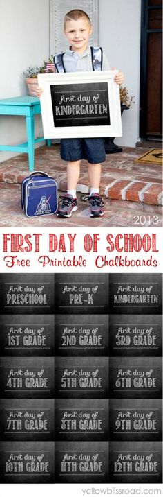 First Day of School Free Chalkboard Printables