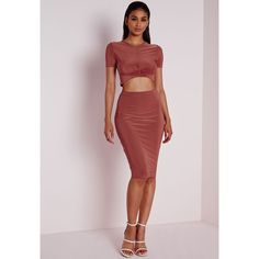 Missguided Bodycon Slinky Midi Skirt Terracotta ($36) ❤ liked on Polyvore