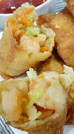 Shrimp Egg Rolls _ I've made these for many people & been asked many times for the recipe. I have tweaked it some, & have made it so many times, I think of it as my own. These are so good, & the best egg rolls ever! This will become your go to recipe! Egg Roll Recipes, Fish Recipes, Seafood Recipes, Asian Recipes, Appetizer Recipes, Great Recipes, Cooking Recipes, Favorite Recipes, Ethnic Recipes