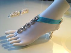 Lola -  Barefoot Sandals - Foot Jewelry - Something Blue - Beach Shoes - Bridal Sandals - Wedding Bridal Shoes. $72.00, via Etsy.