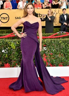 Camila Alves The former model stunned in a grape silk gown that featured a floor-sweeping train by Donna Karan Atelier.