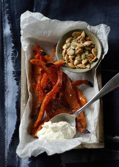 Roasted pumpkin fries & salted seeds | Oliver Knight food styling | photography by Remko Kraaijeveld