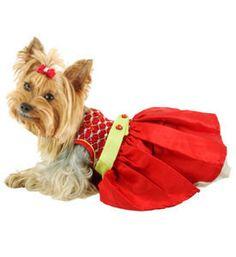 Designer cão vestido de Mão Peppermint Pixie smocked Oscar Newman