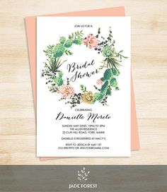 """♥ 10% OFF with coupon code """"PIN10"""" ▷ Floral Bridal Shower Invitation DIY // Pink by JadeForestDesign"""